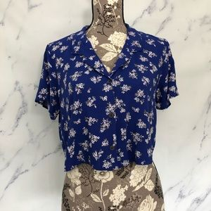 Wild Fable Floral Button Down Boxy Crop Top
